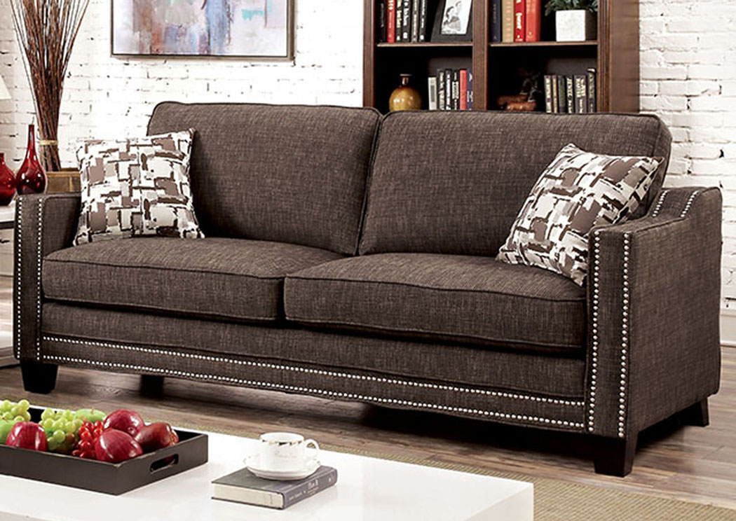 Kerian Brown Chenille Sofa W/Pillows,Furniture Of America