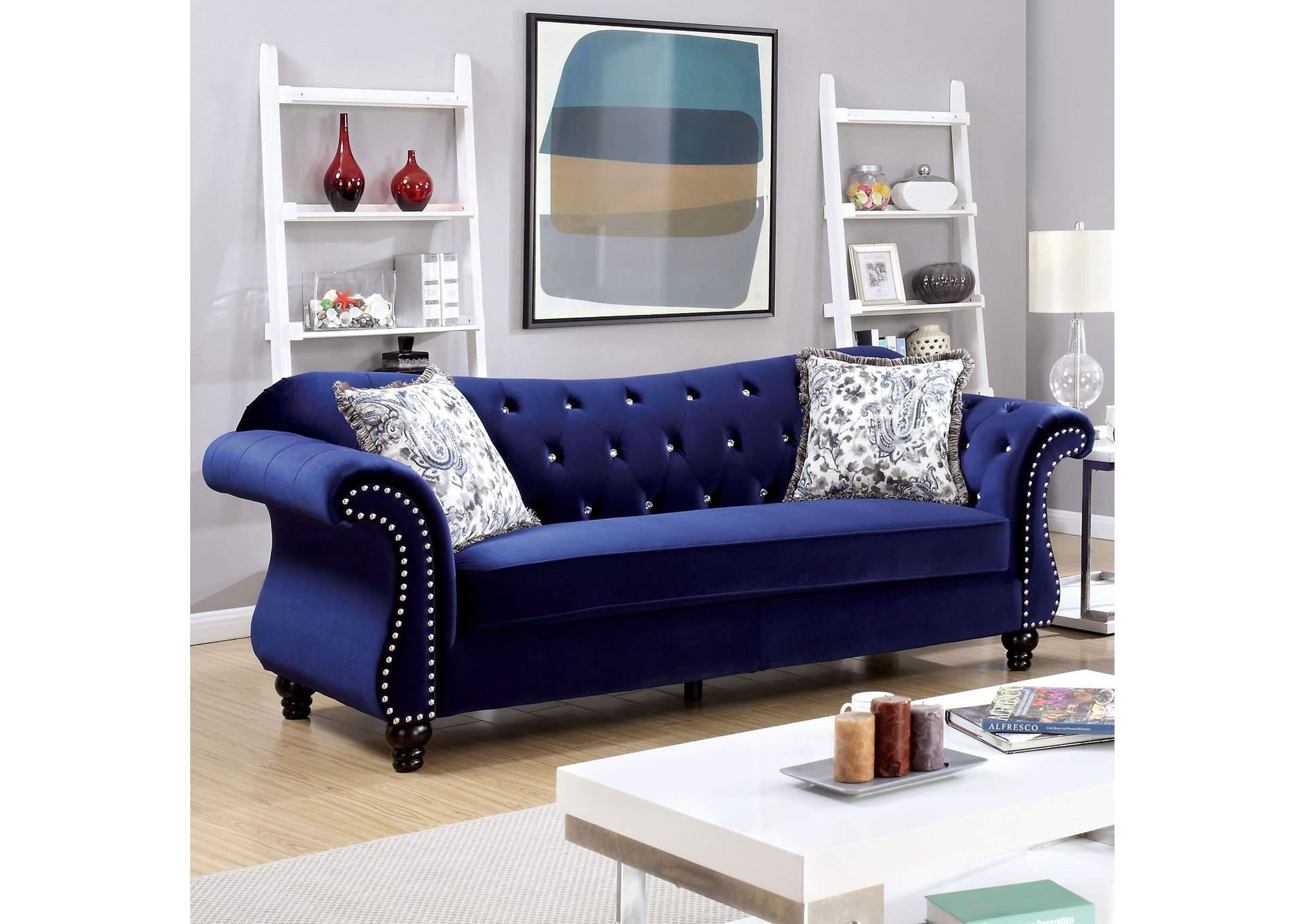 Long island discount furniture jolanda blue curved back sofa for Living room furniture long island