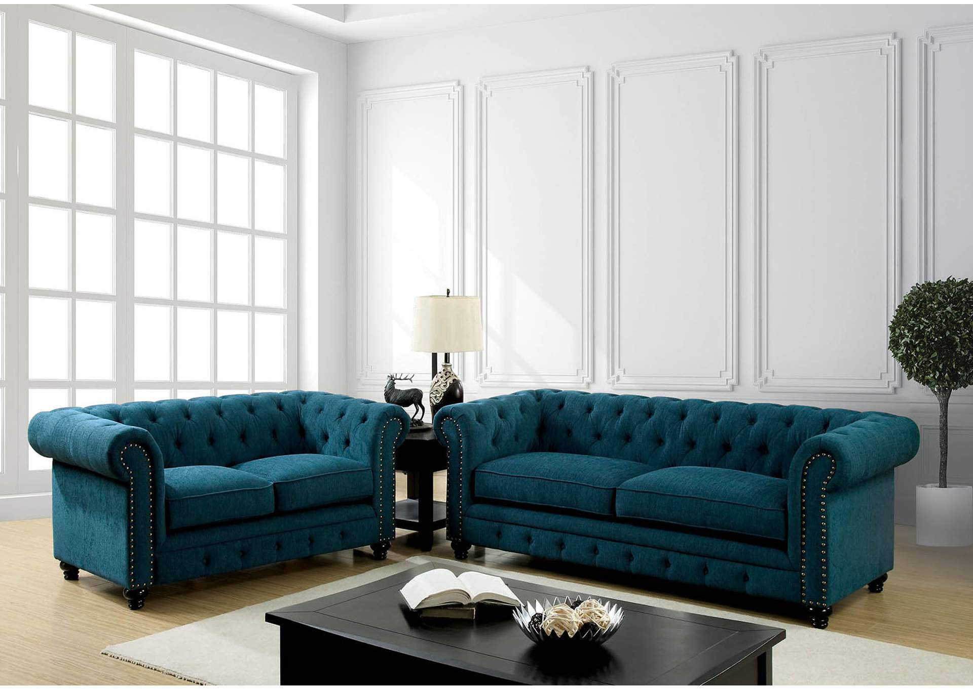 In home furniture stanford dark teal sofa and loveseat for Living room furniture 0 finance