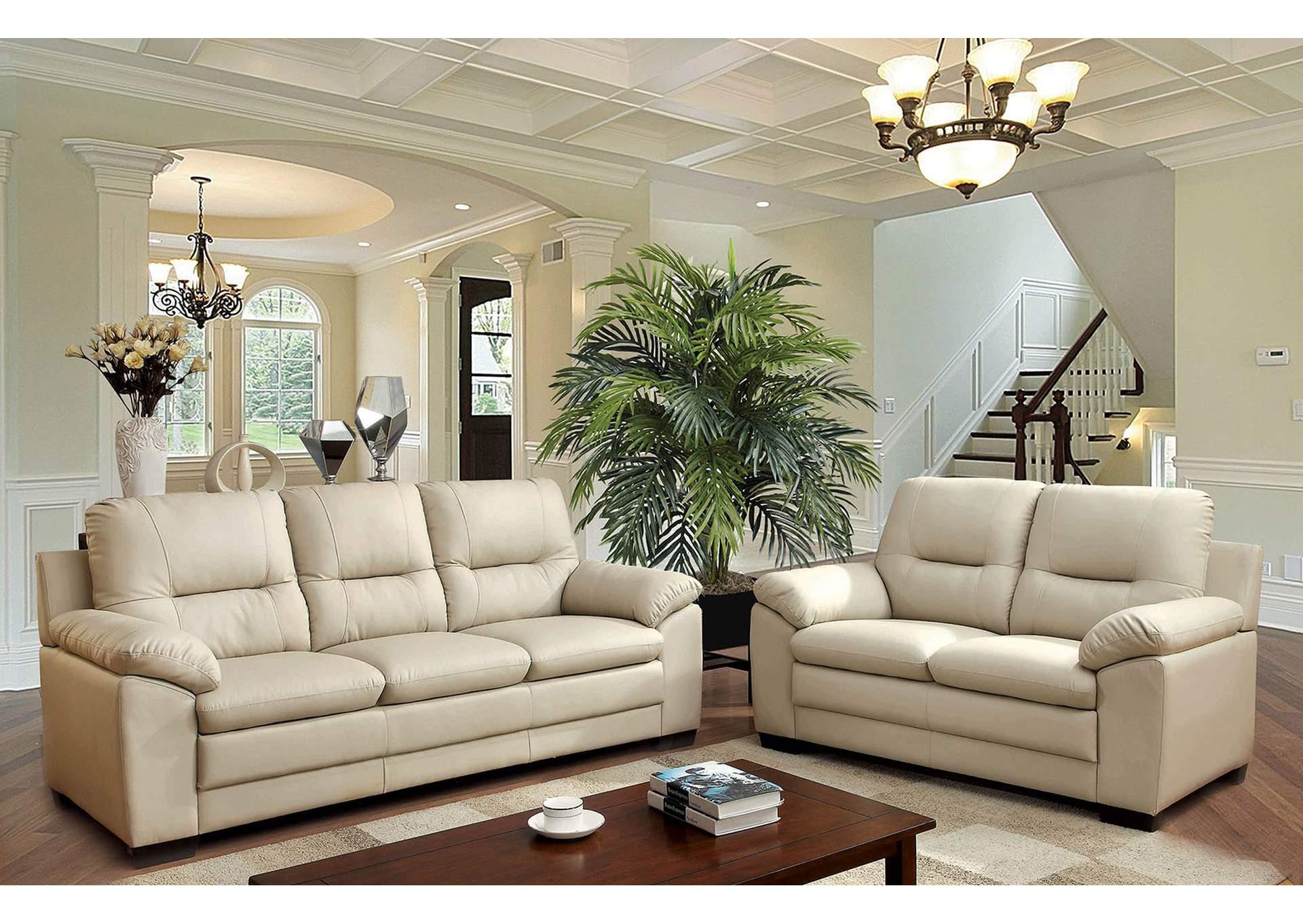 squan furniture parma ivory polyurethane sofa. Black Bedroom Furniture Sets. Home Design Ideas