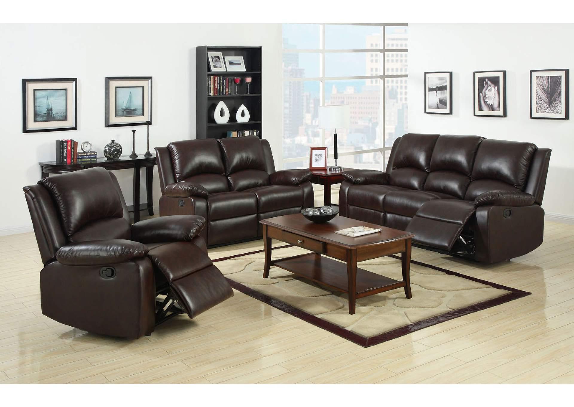 252873 Oxford Rustic Dark Brown Motion Sofa and Loveseat