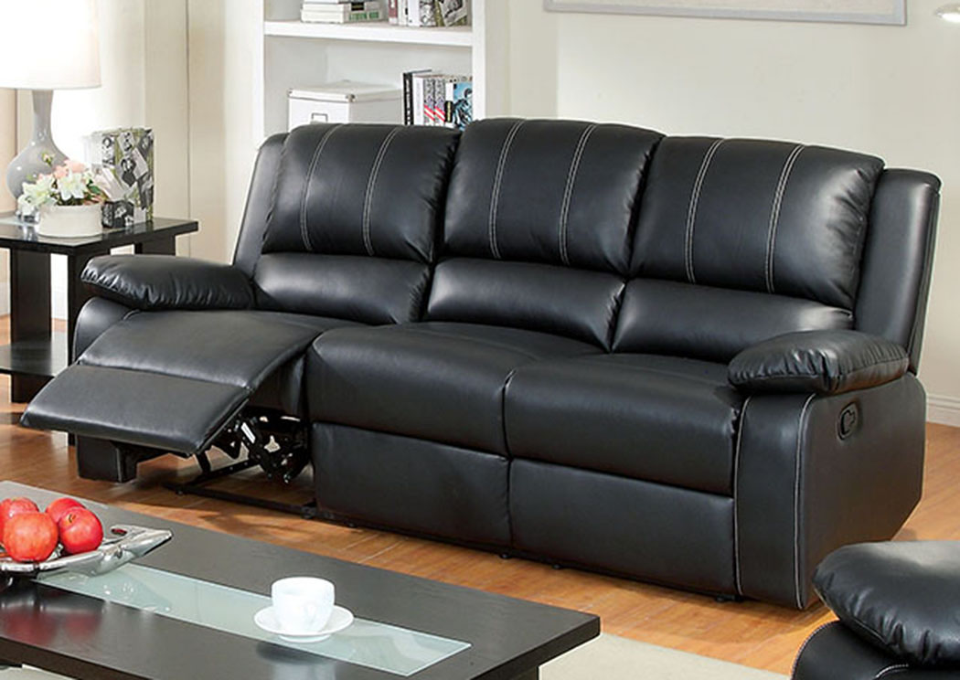 Living Room. Gaffey Black Loveseat W/2 Recliners And Bluetooth Speaker  Console,Furniture Of America
