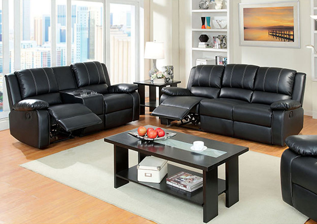 278667 Gaffey Black Leather Sofa and Loveseat