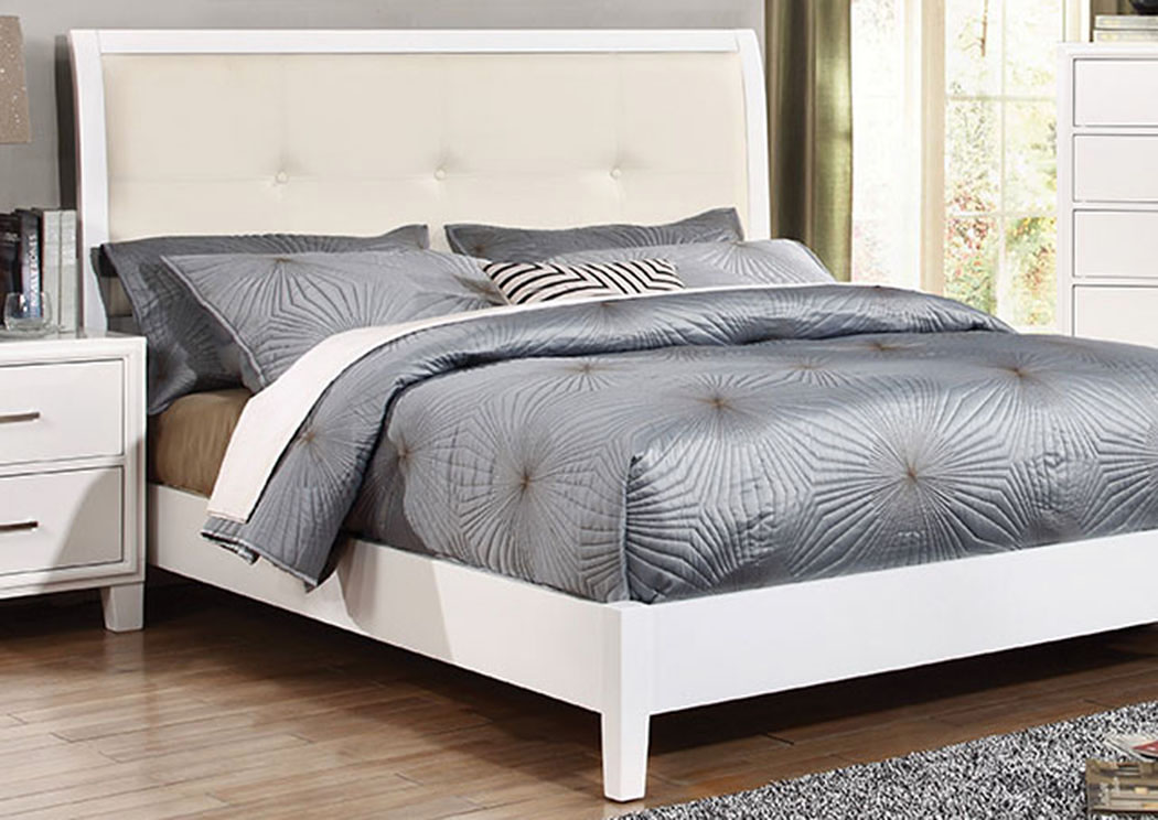Long island discount furniture enrico i white california for Furniture of america king bed