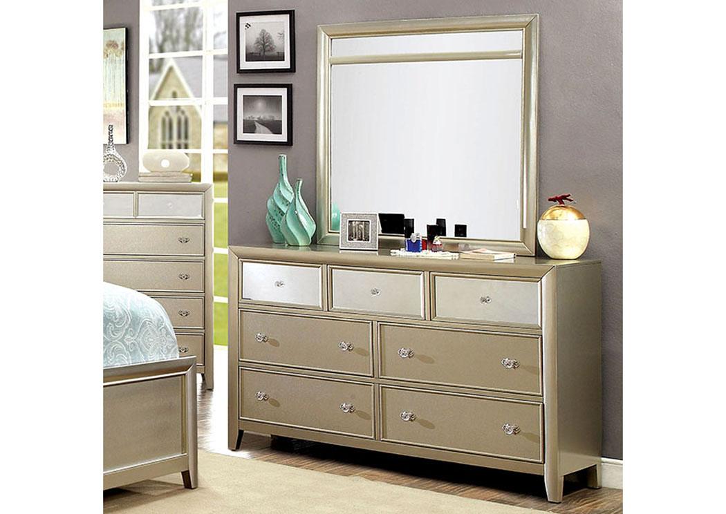 Best Buy Furniture And Mattress Briella Silver Dresser W Mirror Panels