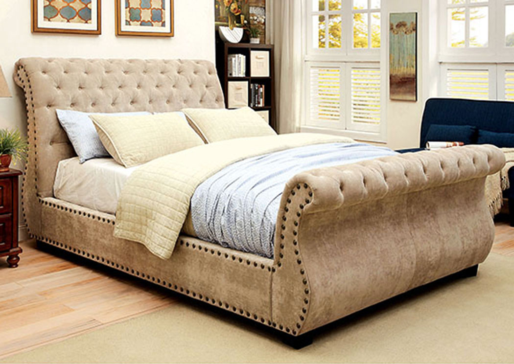 Furniture Ville Bronx Ny Noemi Mocha Queen Upholstered Sleigh Bed