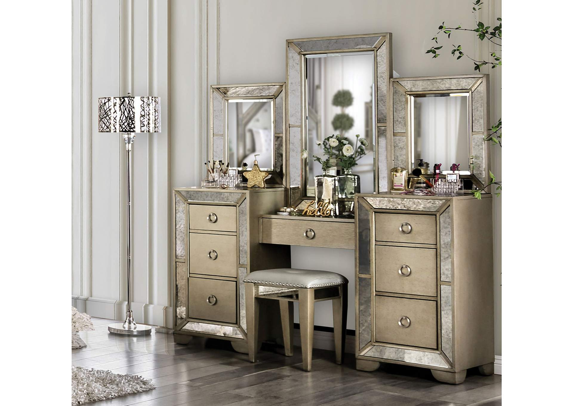 Loraine Silver Vanity Set,Furniture Of America