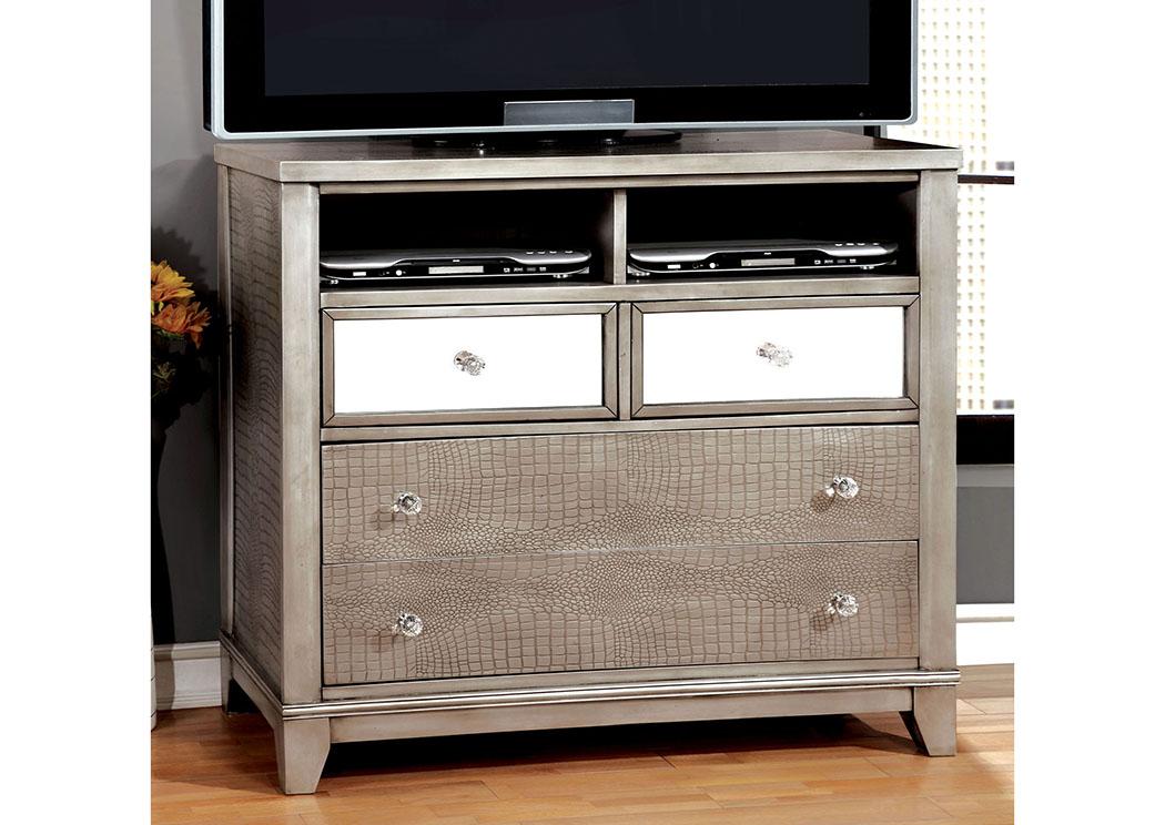 Long Island Discount Furniture Bryant Silver Faux Crocodile Media Chest W Mirror Panels