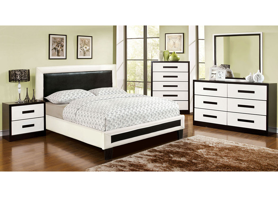 Brothers Fine Furniture Robles White And Black Full Upholstered Platform Bed