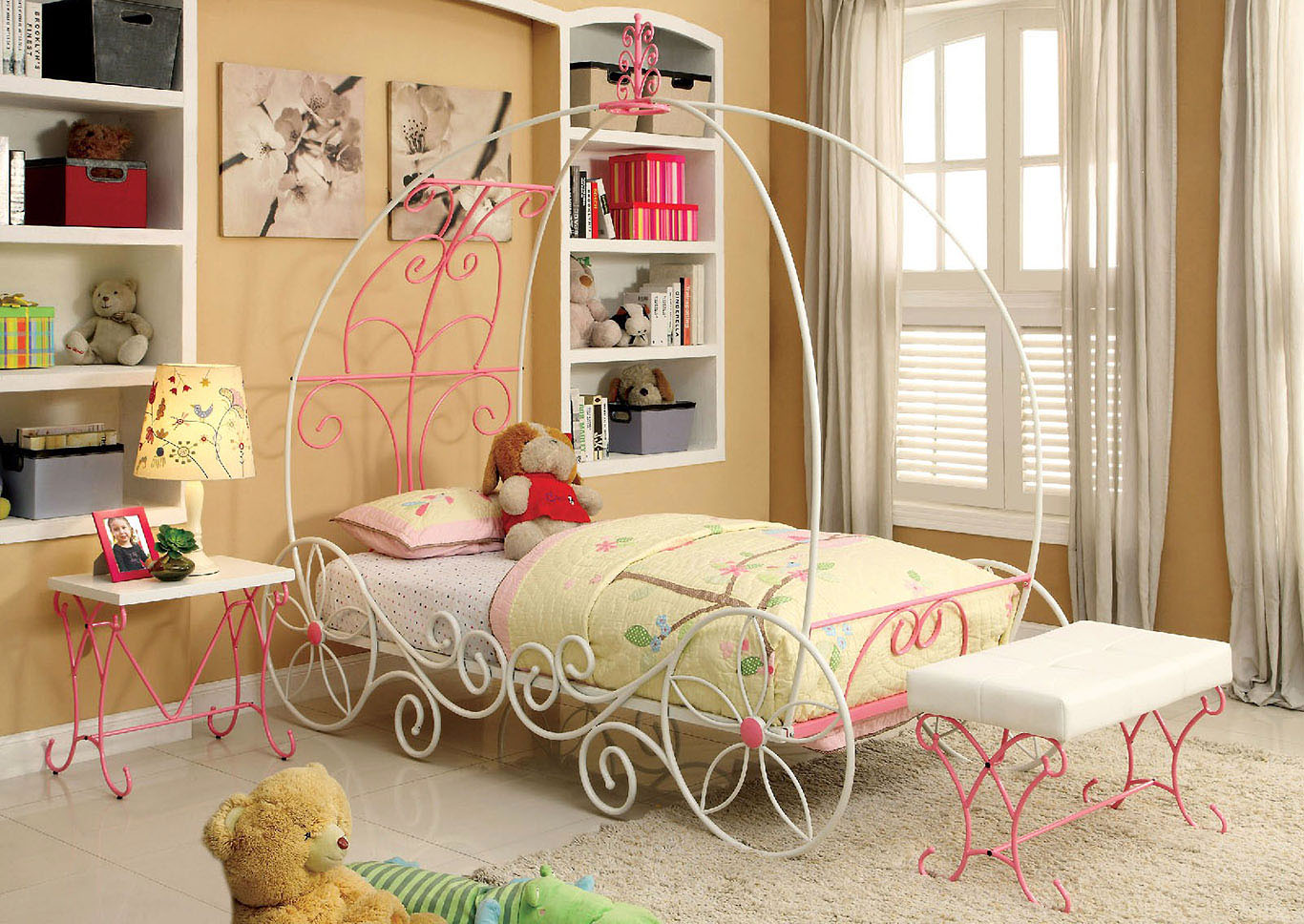 enchant princess carriage bed wnightstand and bench