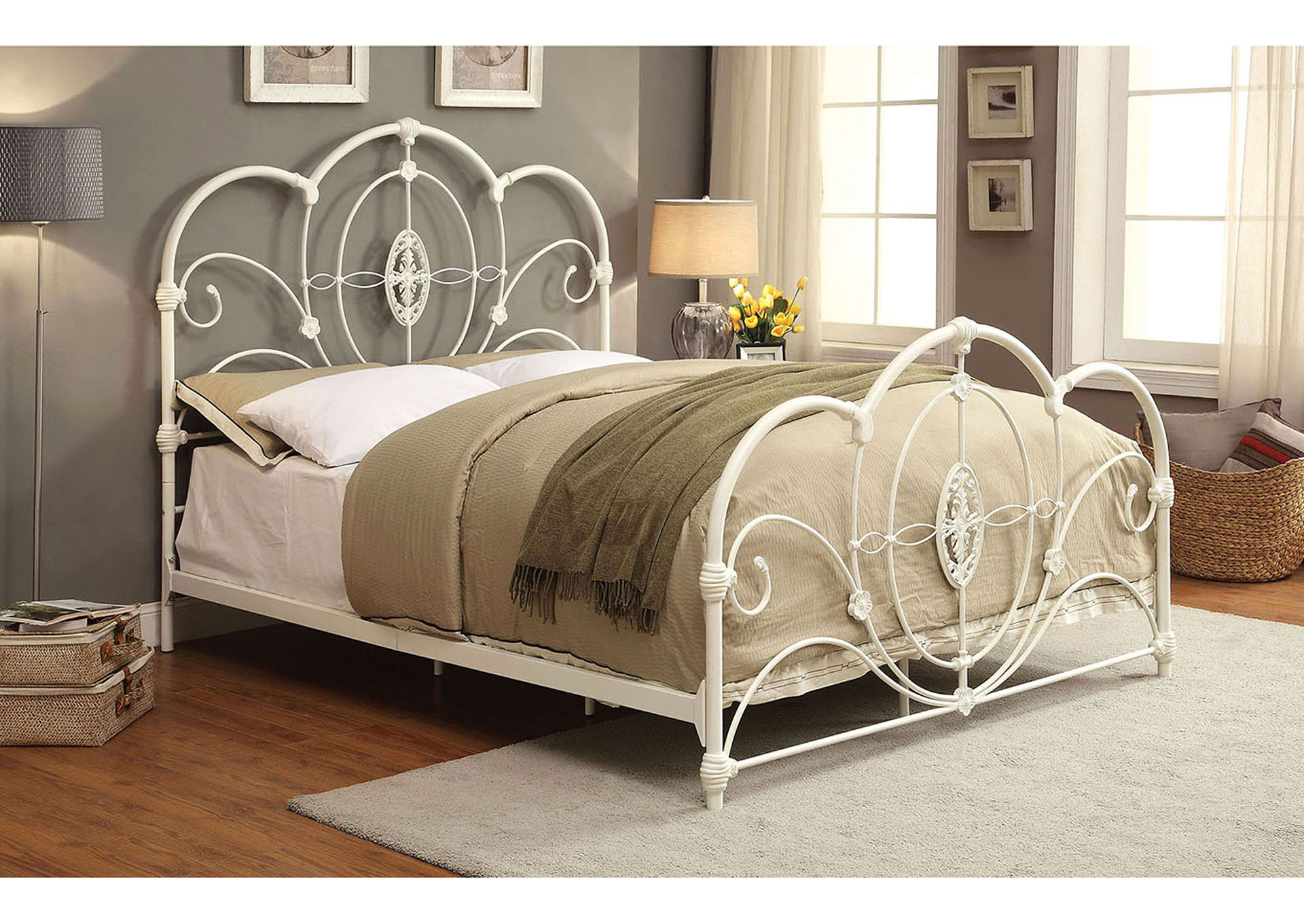 In Home Furniture Jania White Metal Eastern King Panel Bed
