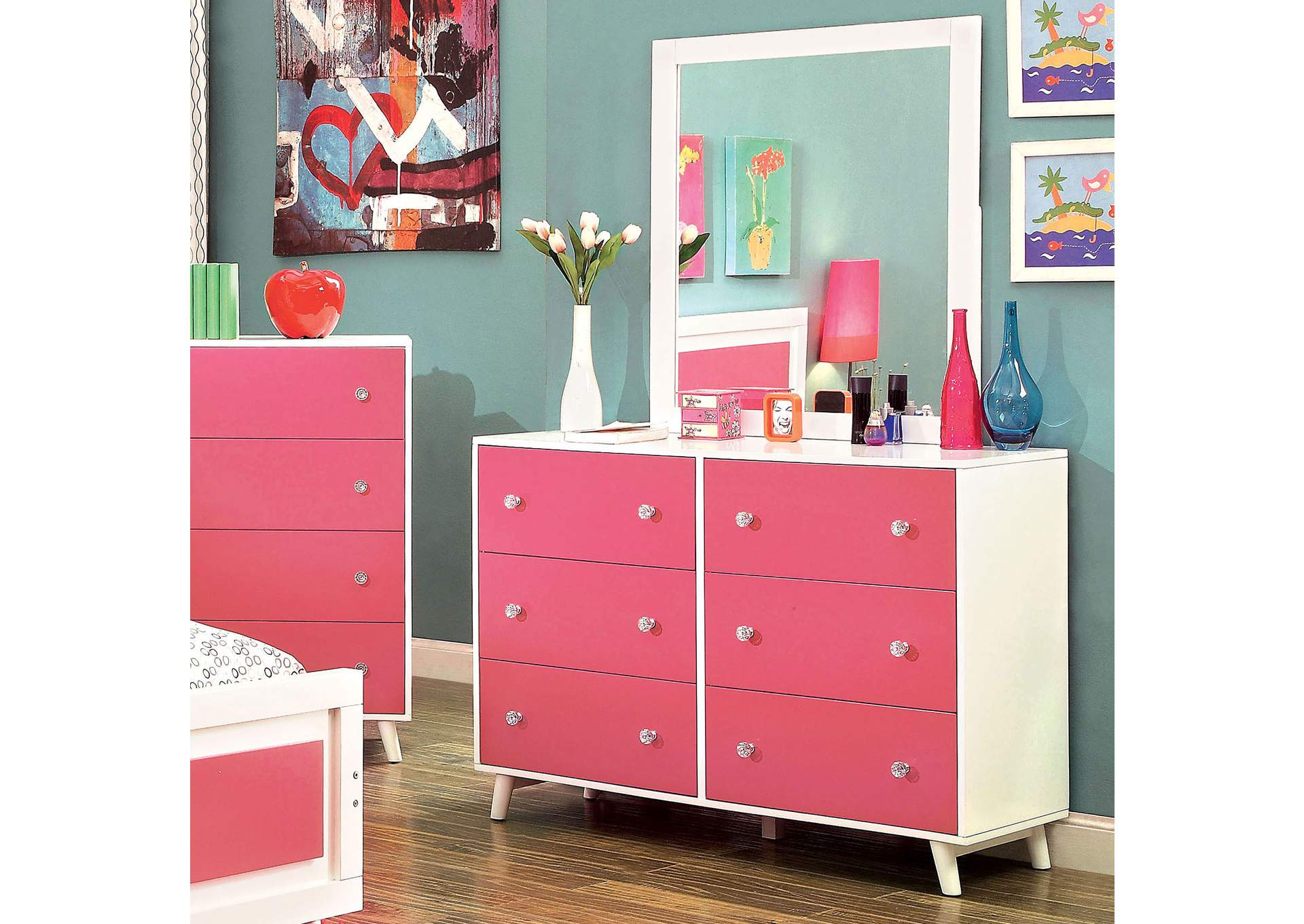 Home Furnishing Center - Woodhaven, NY Alivia Pink & White Dresser