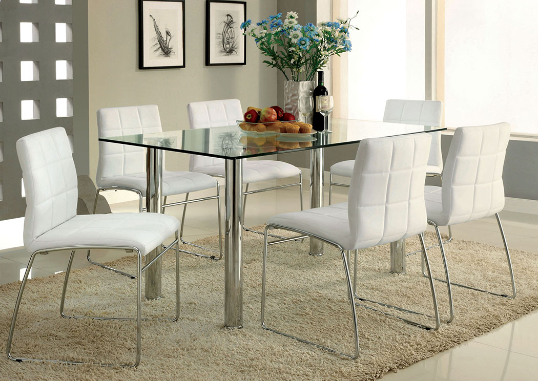 Charming Furniture Oahu #9 - Peaceful Living Furniture Oahu Chrome Glass Top Dining Table W/6 White Side  Chairs