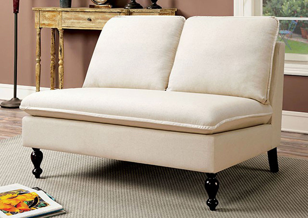 Furniture Ville Bronx Ny Kenzie Ivory Loveseat Bench