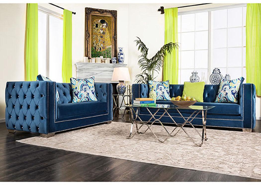 Salvatore Lapis Blue Velvet Sofa And Loveseat W/Pillows,Furniture Of America