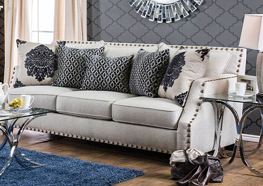 Cornelia Beige Nailhead Trim Sofa W/Pillows,Furniture Of America