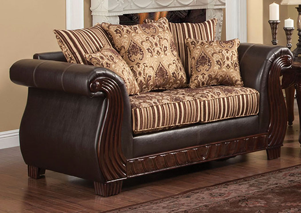 Brothers Fine Furniture Rutherford Brown Loveseat