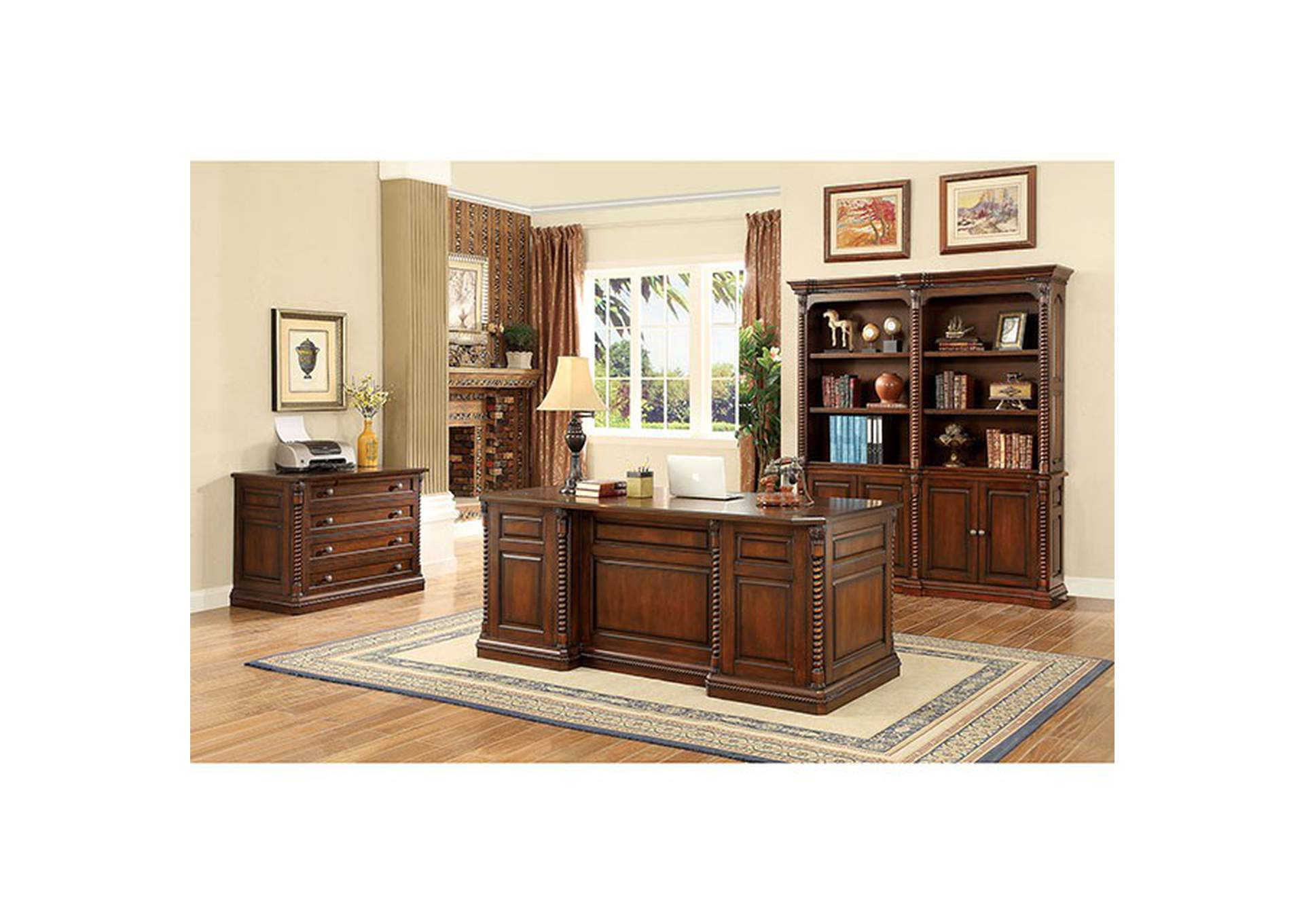 Vicki Dark Oak Book Shelf Buffet w/Hutch,Furniture of America