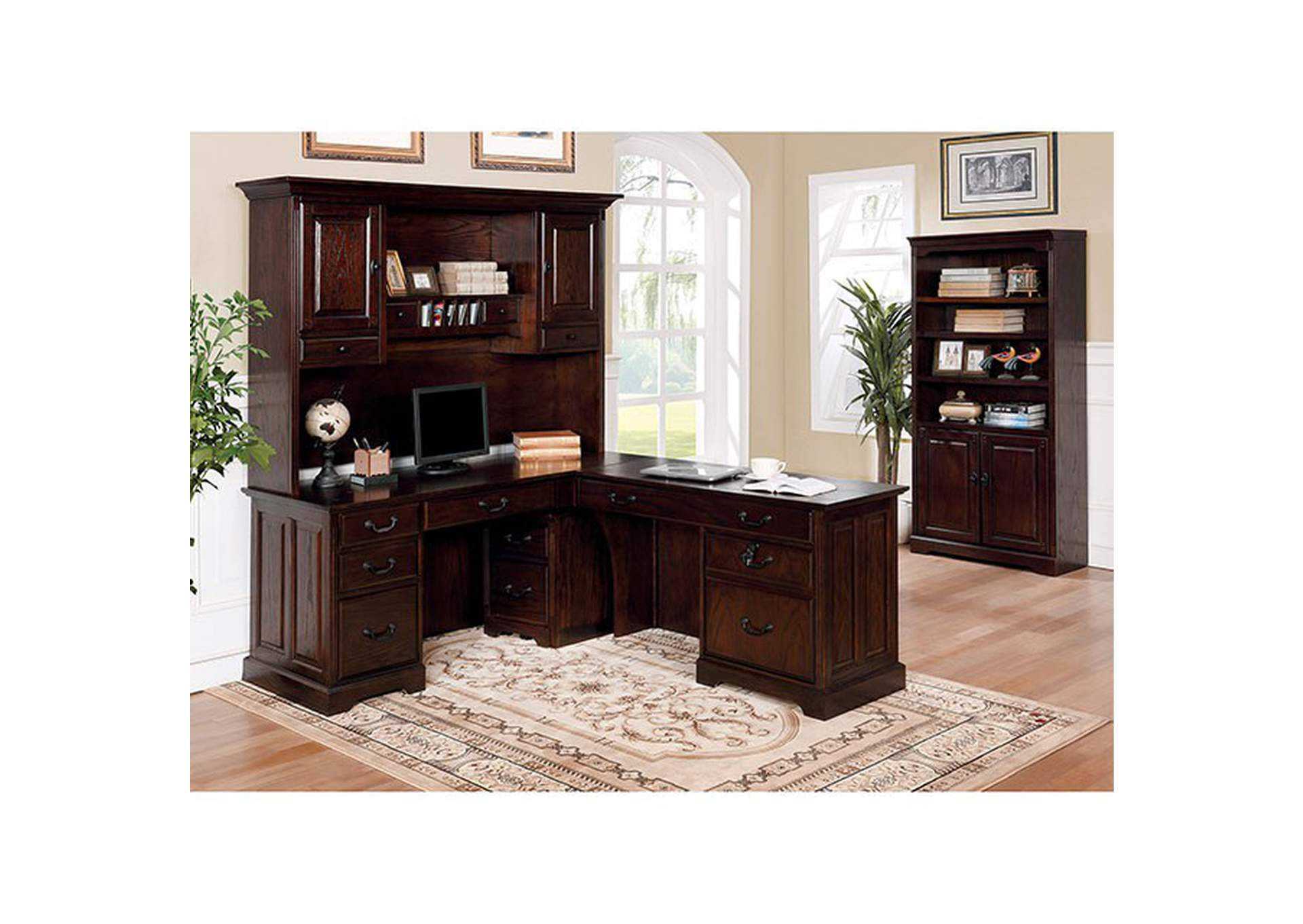 Tami Dark Walnut Corner Desk w/Hutch,Furniture of America