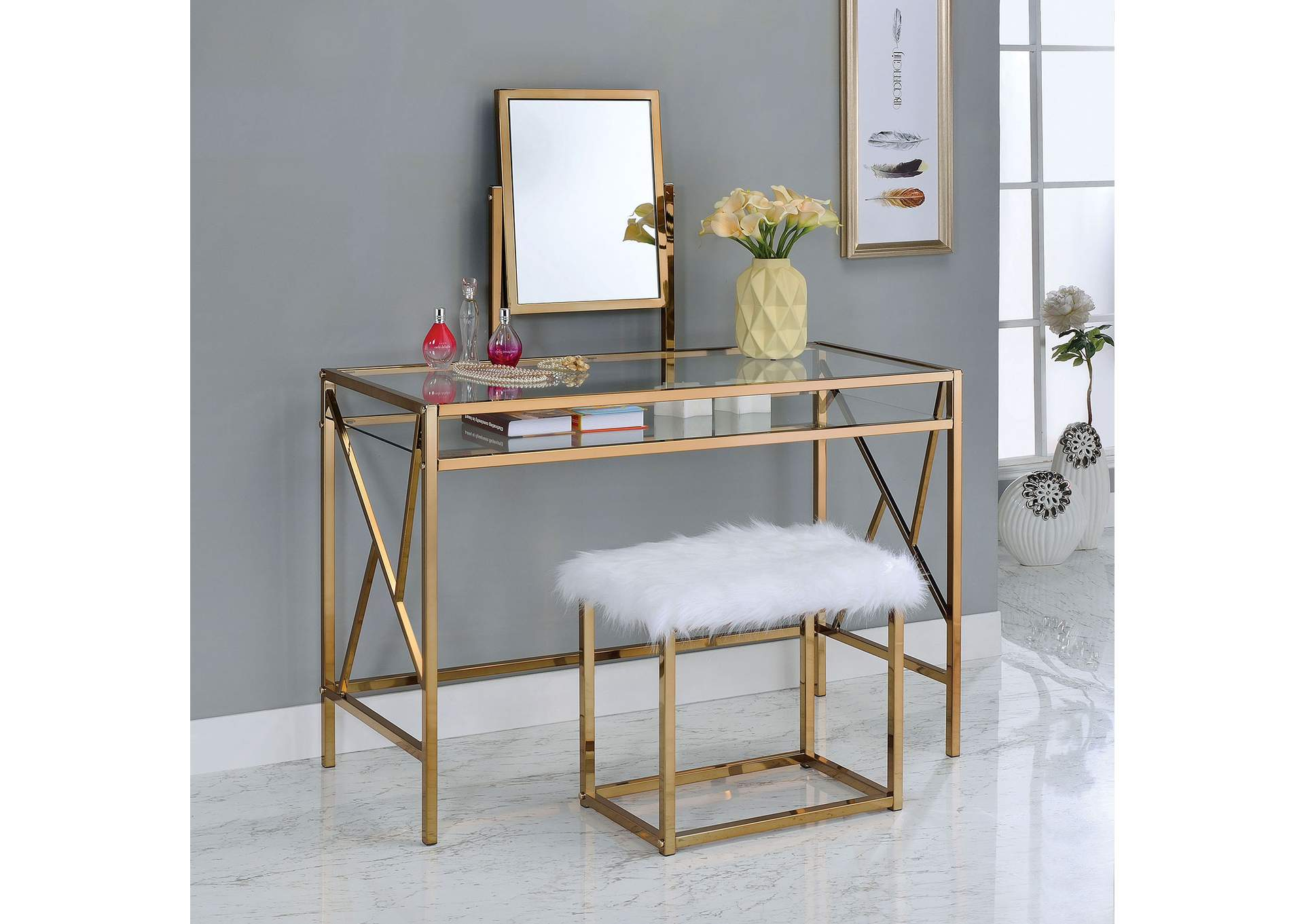 Peaceful Living Furniture Lismore Champagne Vanity W Stool