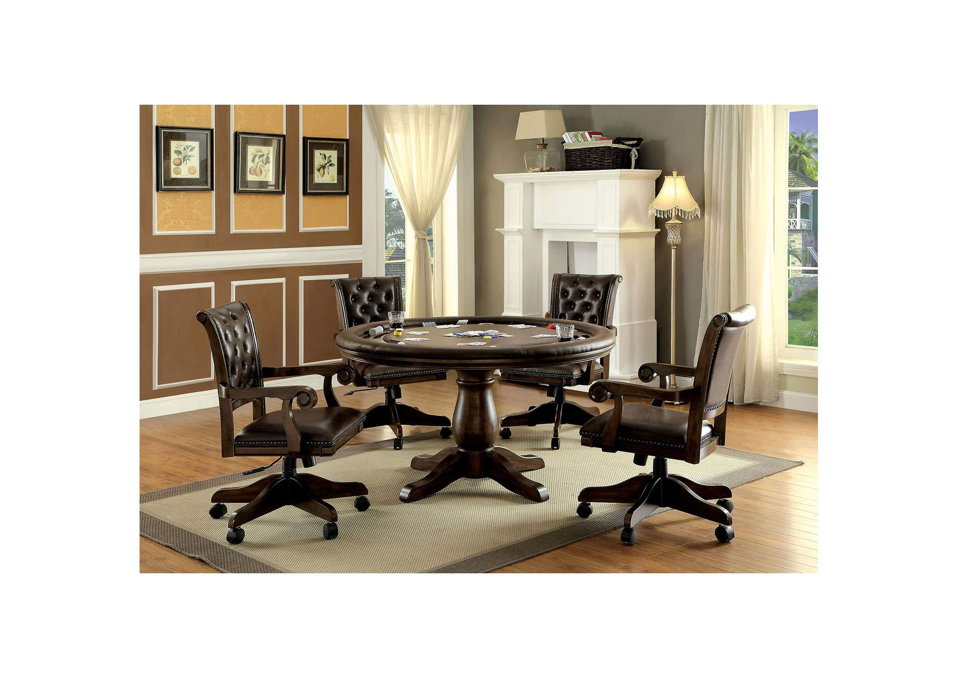 Furniture ville bronx ny kalia brown game table for Furniture ville