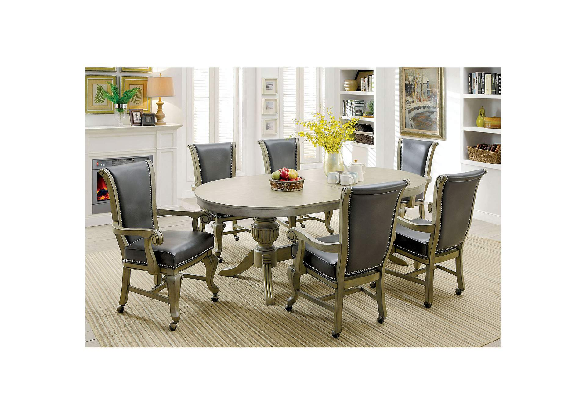 Furniture ville bronx ny melina gray game table for Furniture ville