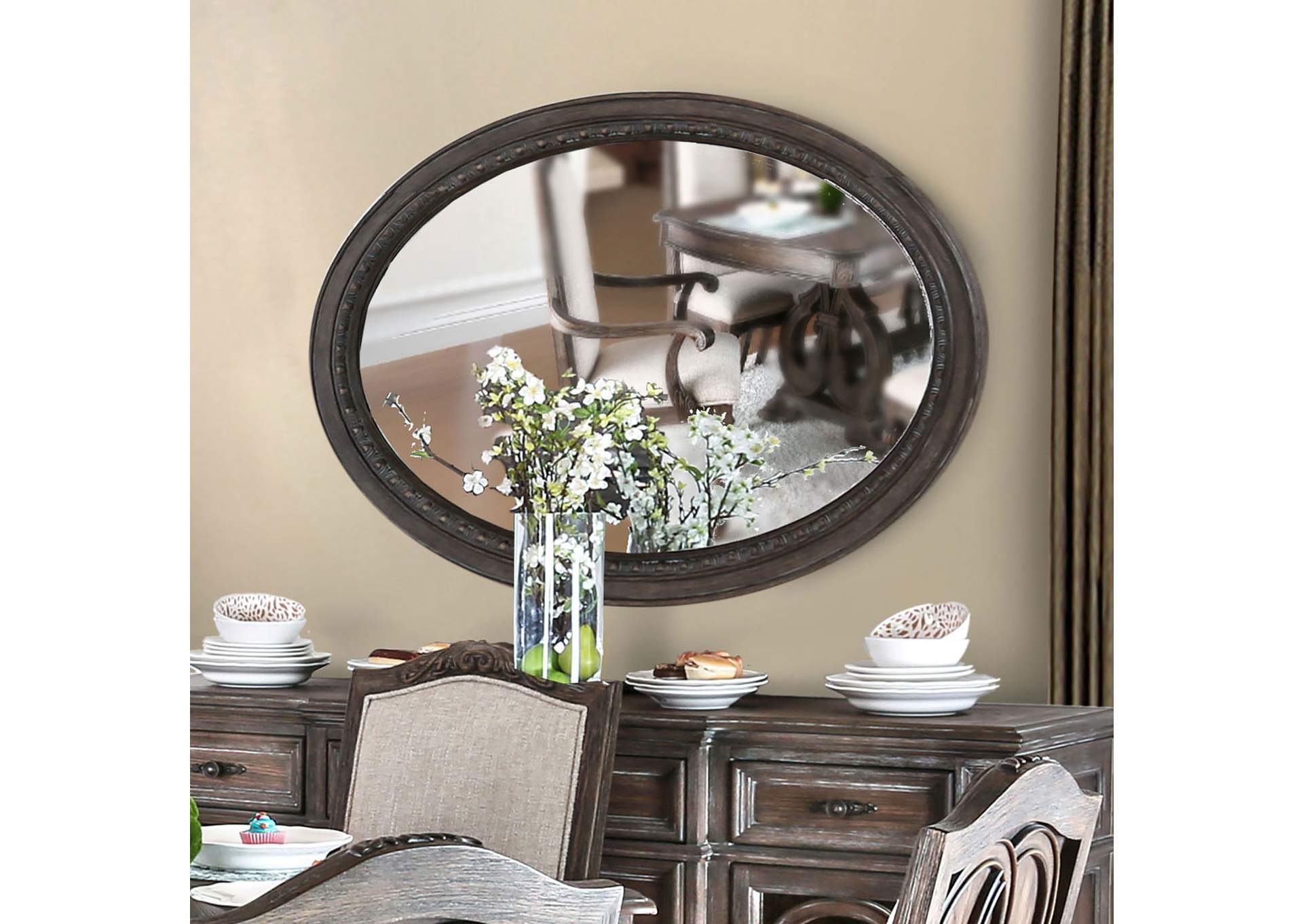 Arcadia Rustic Oval MirrorFurniture Of America