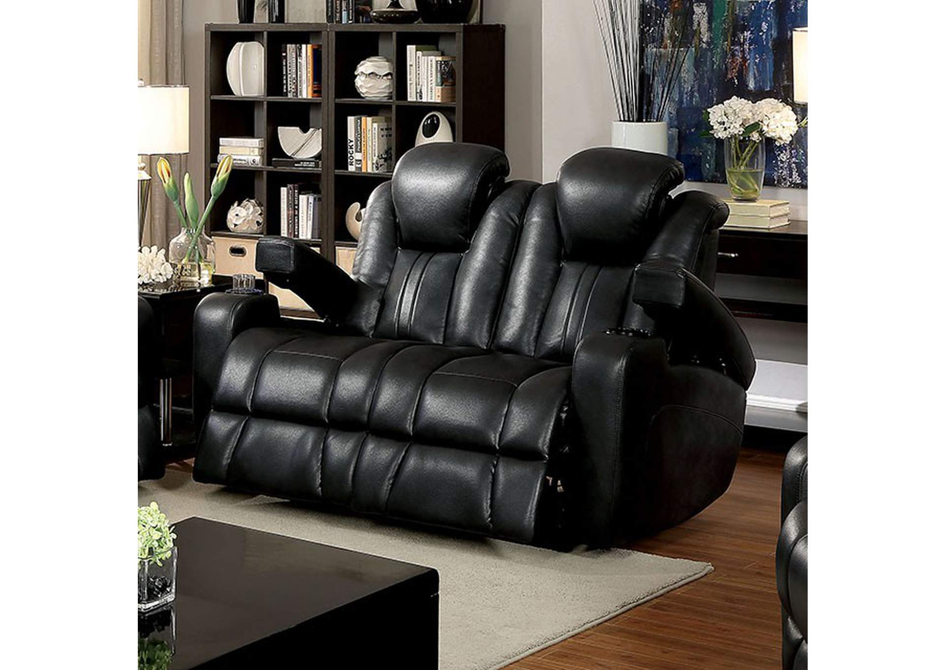 Living Room. Zaurak Dark Gray Loveseat W/2 Recliners,Furniture Of America