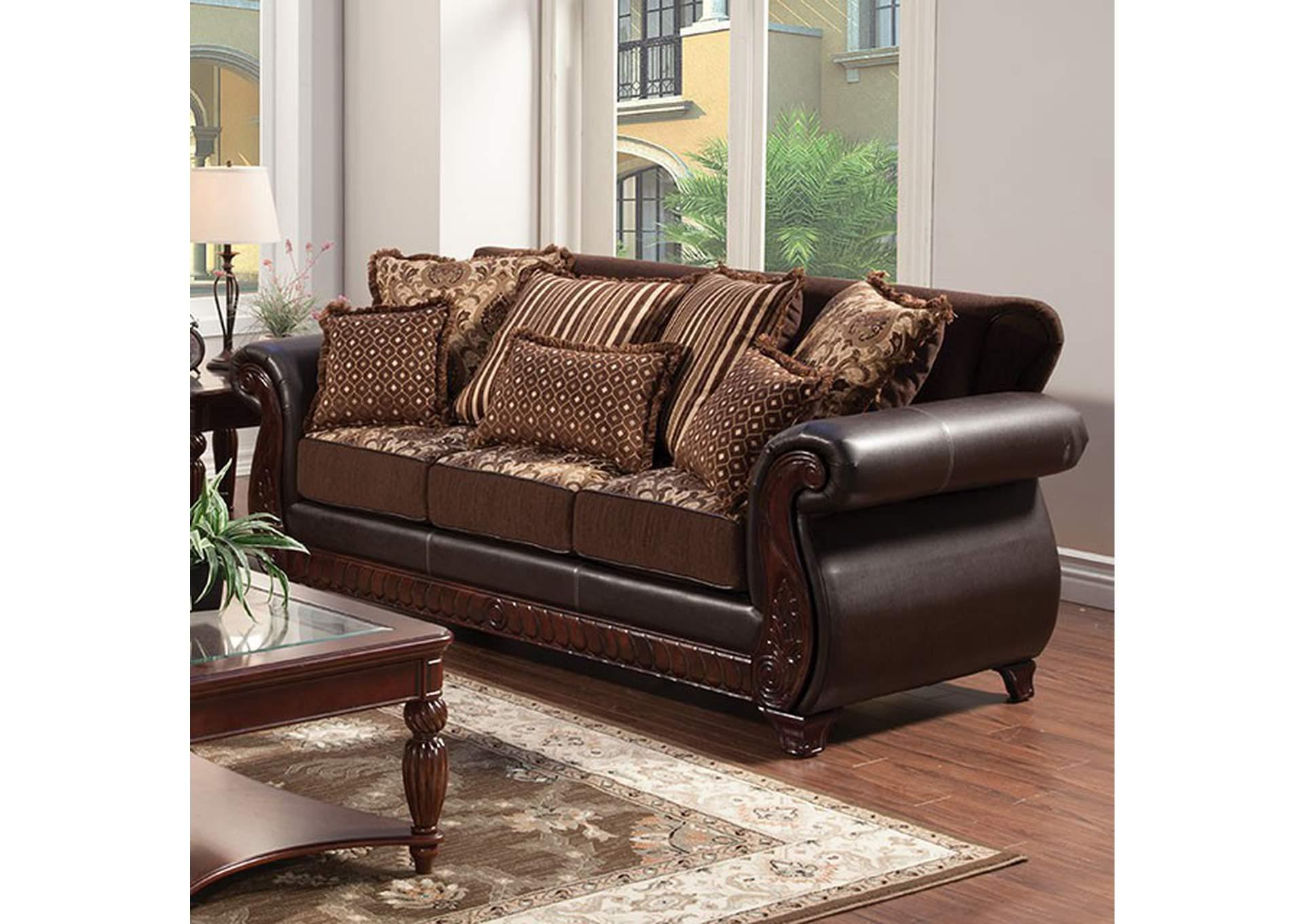 Charming Franklin Burgundy Sofa,Furniture Of America