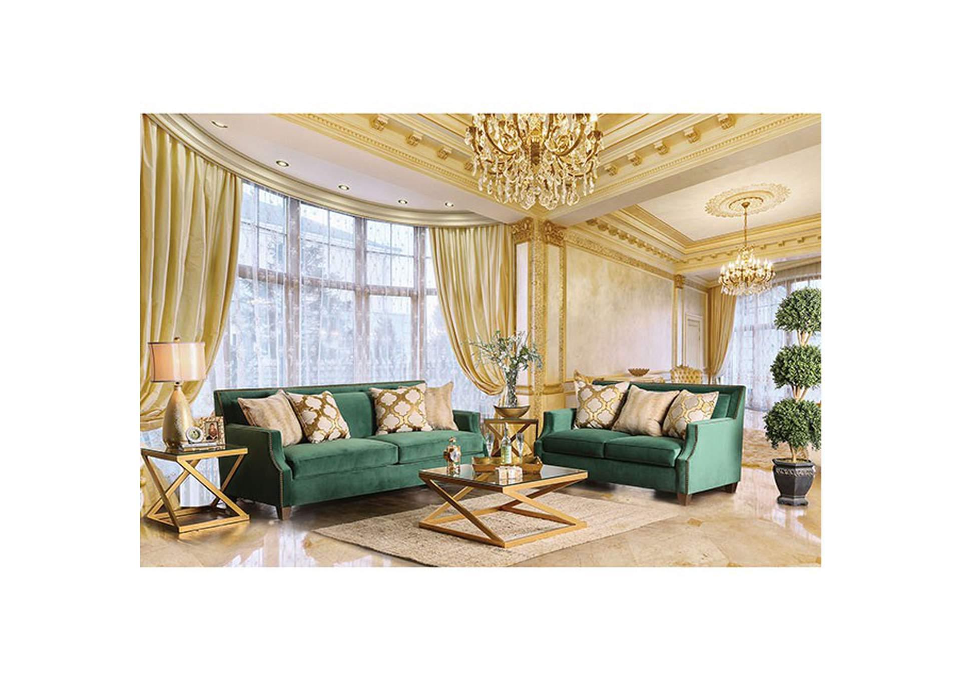 363082 Verdante Emerald Green Sofa and Loveseat Set w/Pillows