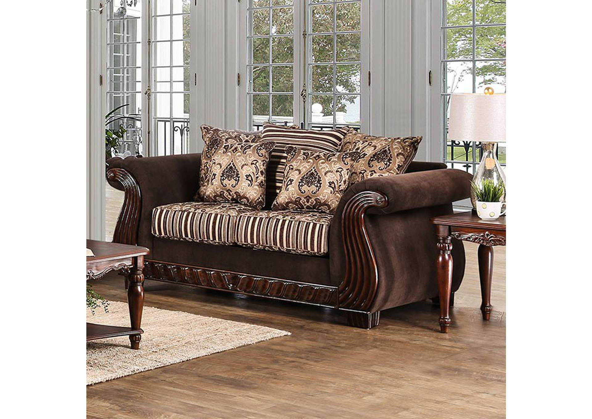 Thales Brown Loveseat,Furniture of America