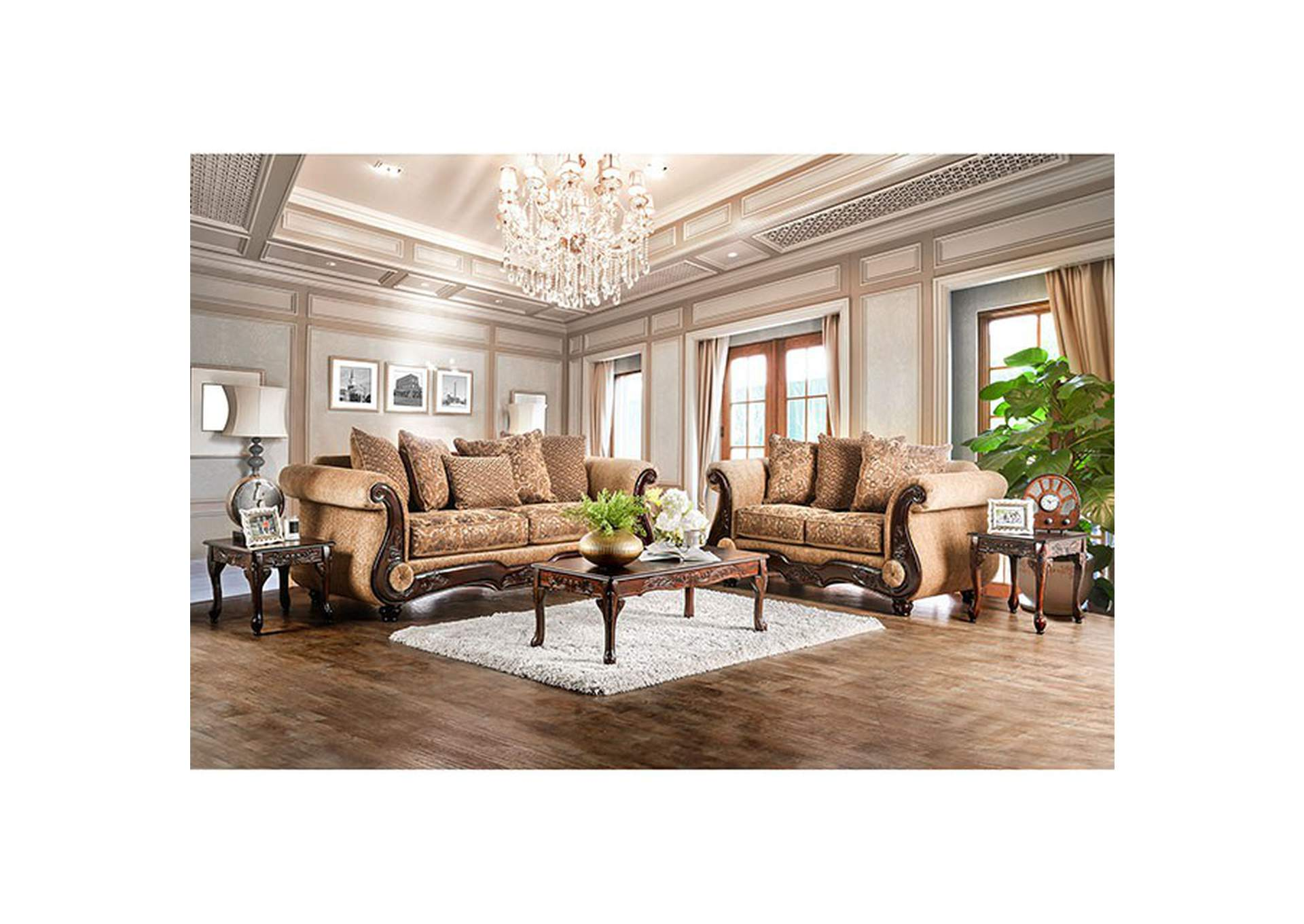 Nicanor Gold Sofa and Loveseat,Furniture of America