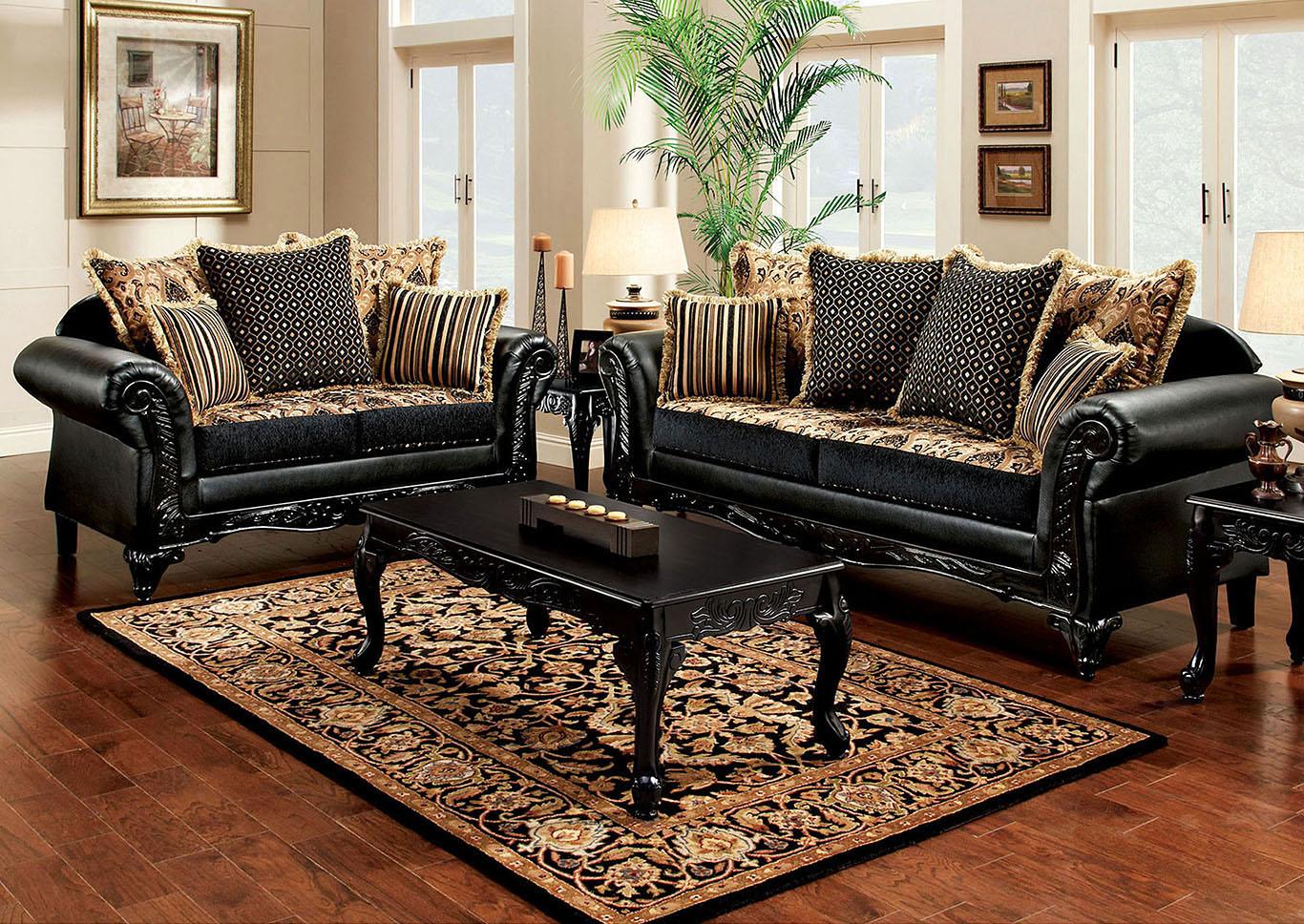 Theodora Black Sofa and Loveseat,Furniture of America