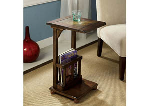 Wilcox Antique Walnut Side Table w/Slate-Insert Top & Magazine Rack