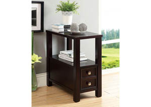 Lydle Espresso Side Table w/Drawer & Open Shelf