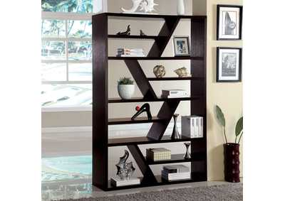 Kamloo Espresso Zig-Zag Display Case,Furniture of America