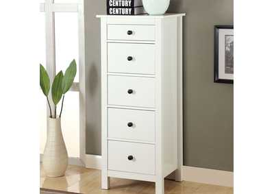 Launces White 5 Drawer Chest,Furniture of America