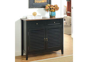 Oleida Black Louver Design 2 Door & 2 Shelf Cabinet