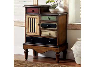 Neche Multi-Colored Panel Chest w/5 Drawers & Turned Legs
