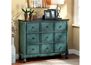 Orofino Antique Green & Brown Chest w/3 Drawers
