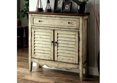 Hazen 2-Tone Louver Door Cabinet w/Drawer,Furniture of America