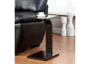 Valpa Walnut Side Table w/Glass Top