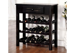 Tessa Antique Black Wine Cabinet