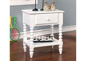 Lindsey White Nightstand w/Shelf