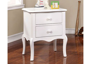Lexie White 2 Drawer Nightstand,Furniture of America