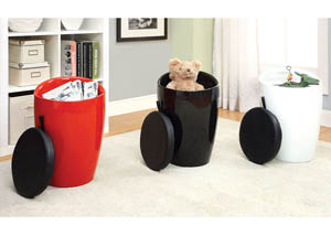 Rolla Black Lacquer Stool w/Padded Seat & Storage