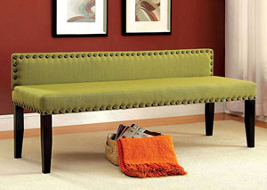 Herstal Green Upholstered Large Bench