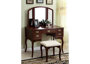 Ashland Cherry Vanity w/Padded Stool
