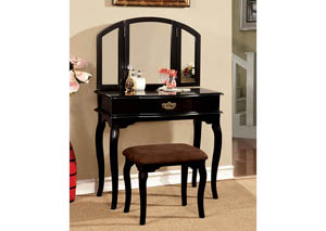 Winnette Black Vanity Set w/Padded Stool