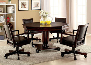 Raelle Dark Cherry Game Table w/Cup Holders